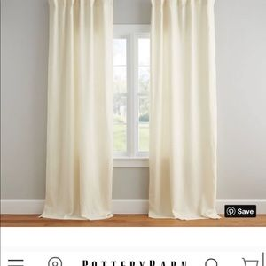 "Set of (2) 84"" Pottery Barn Belgium Linen Curtains"